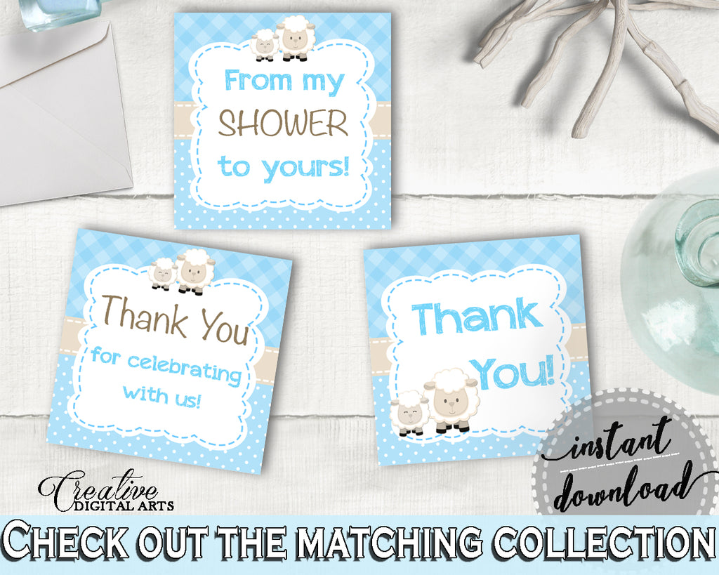 Little Lamb Blue Boy Baby Shower Thank You Favor Square Tags