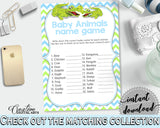 NAME THE BABY ANIMALS baby shower game with green alligator and blue color theme, instant download - ap002