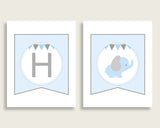 Elephant Baby Shower Banner All Letters, Birthday Party Banner Printable A-Z, Blue Grey Banner Decoration Letters Boy, Chevron Theme ebl02