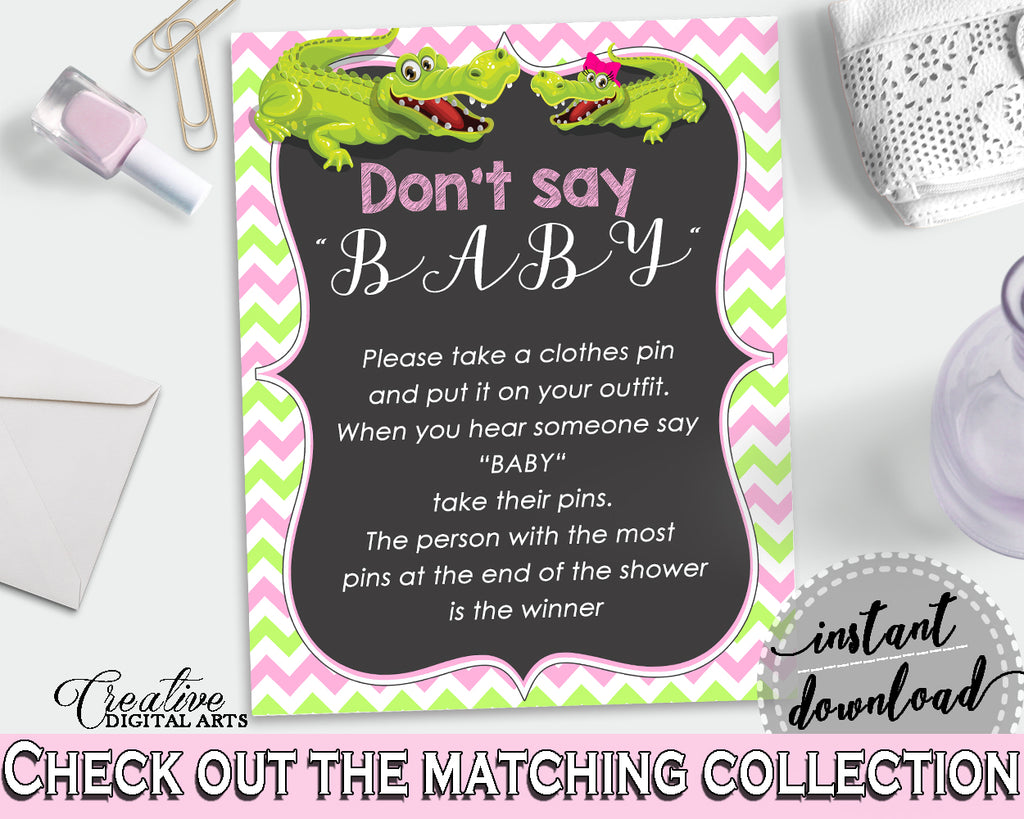 DON'T SAY BABY game for baby shower with green alligator and pink color theme, instant download - ap001