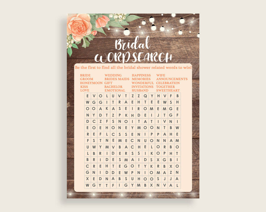 Word Search Bridal Shower Word Search Rustic Bridal Shower Word Search Bridal Shower Flowers Word Search Brown Beige party decor SC4GE