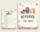 Brown Beige Wishes For Baby Cards & Sign, Woodland Baby Shower Gender Neutral Well Wishes Game Printable, Instant Download, Popular w0001