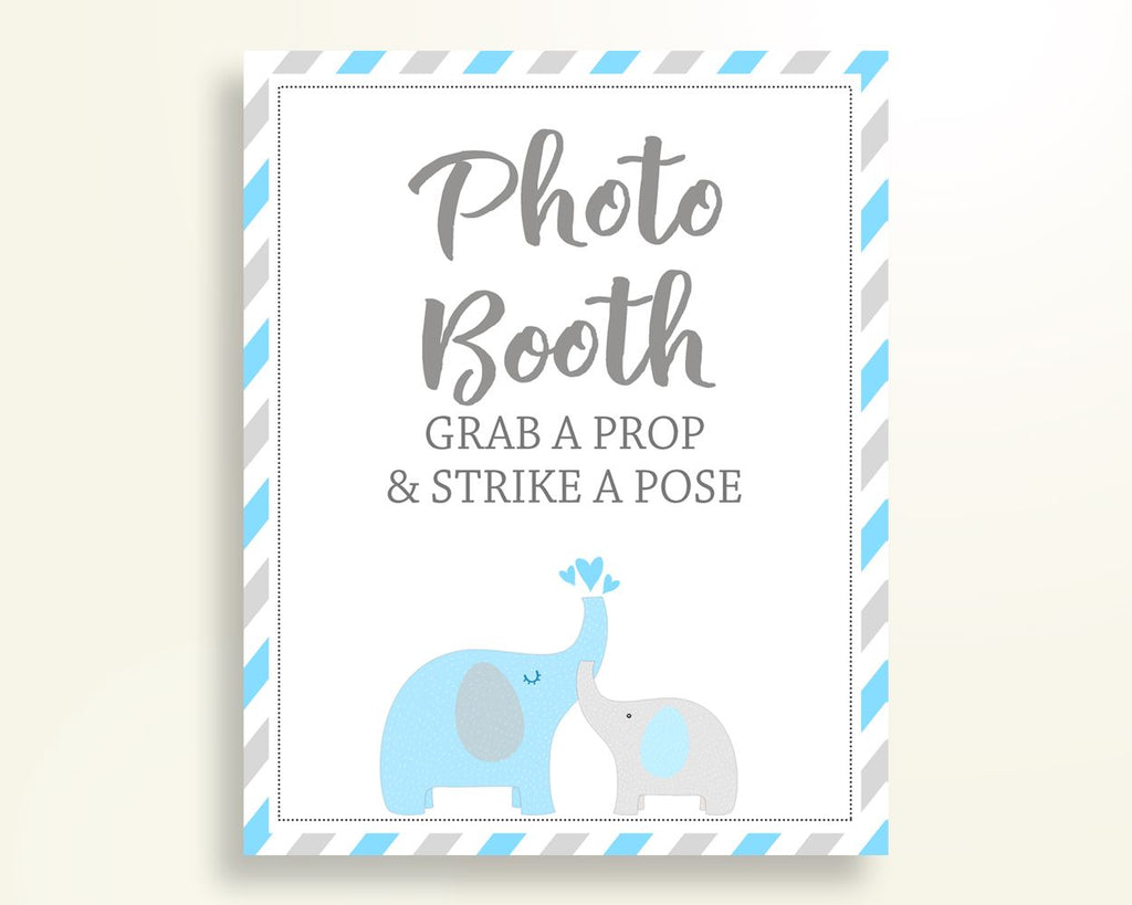 Photobooth Sign Baby Shower Photobooth Sign Elephant Baby Shower Photobooth Sign Blue Gray Baby Shower Elephant Photobooth Sign C0U64 - Digital Product