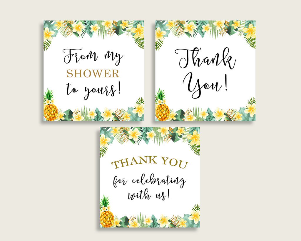 Tropical Baby Shower Square Thank You Tags 2 inch Printable, Green Yellow Gender Neutral Shower Gift Tags, Hang Tags Labels, Instant 4N0VK