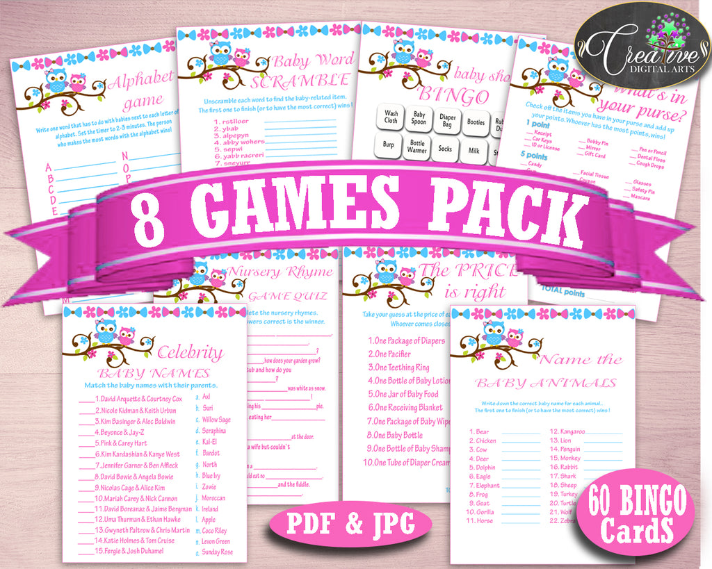 Games Baby Shower Games Owl Baby Shower Games Baby Shower Owl Games Pink Blue party planning pdf jpg party decorations prints owt01