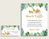 Jungle Baby Shower Diaper Raffle Tickets Game, Gender Neutral Gold Green Diaper Raffle Card Insert and Sign Printable, Instant EJRED