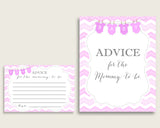 Chevron Advice For Mommy To Be Cards & Sign, Printable Baby Shower Pink White Advice For New Parents, Instant Download, Light Pink cp001