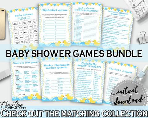 Rubber Duck Baby Shower Games, Rubber Duck Baby Shower Printable, Mint and Blue Rubber Duck Games Package, jpg pdf, instant download - rd002 - Digital Product