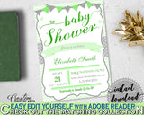 Baby Shower INVITATION editable Pdf with green chevron theme and digital Jpg included, instant download - cgr01