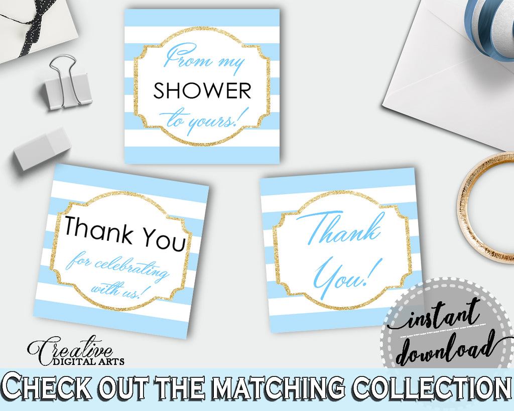 Baby shower printable THANK YOU favor tags, square with blue and white stripes for boys, digital files, instant download - bs002