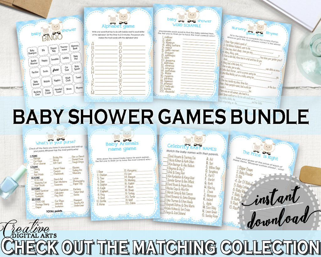 Little Lamb Baby Shower boy games package bundle set printable sheep with blue theme, 8 games pack, digital files - Instant Download - fa001