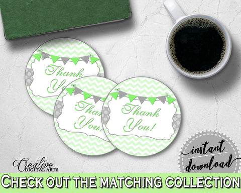 Baby shower THANK YOU round tag or sticker printable with chevron green theme, digital Pdf Jpg, instant download - cgr01