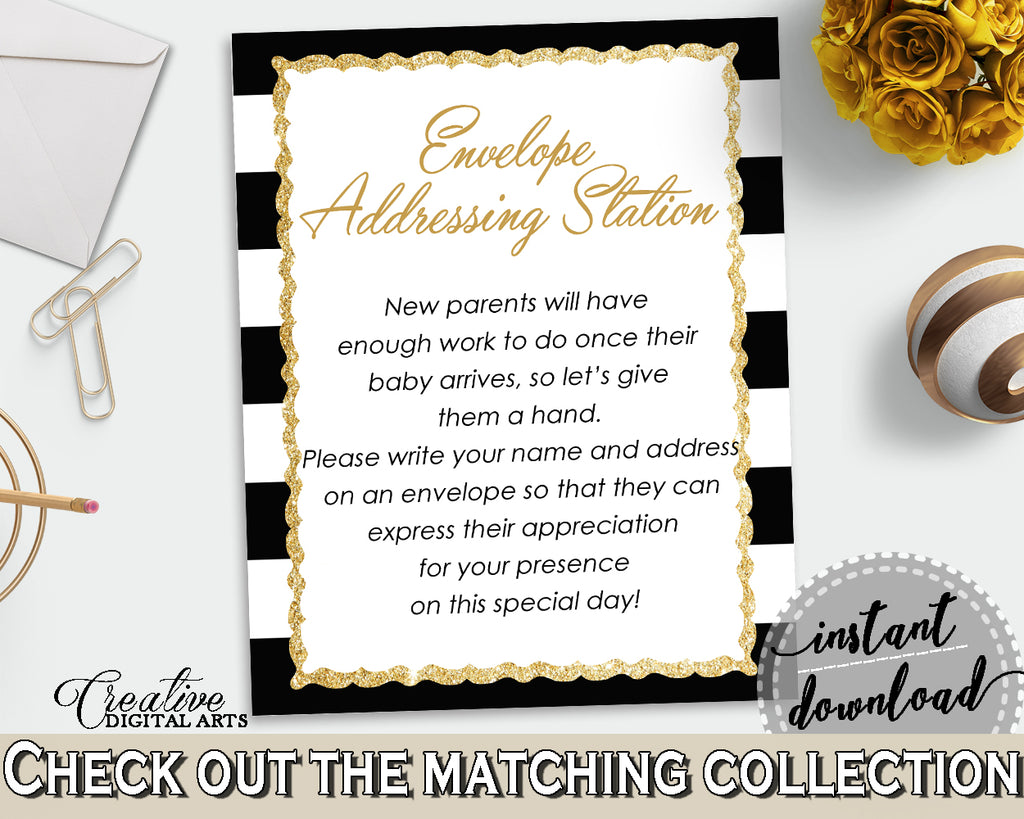 ENVELOPE ADDRESSING STATION baby shower sign with gold glitter title and black white stripes for girl boy shower, instant download - bs001