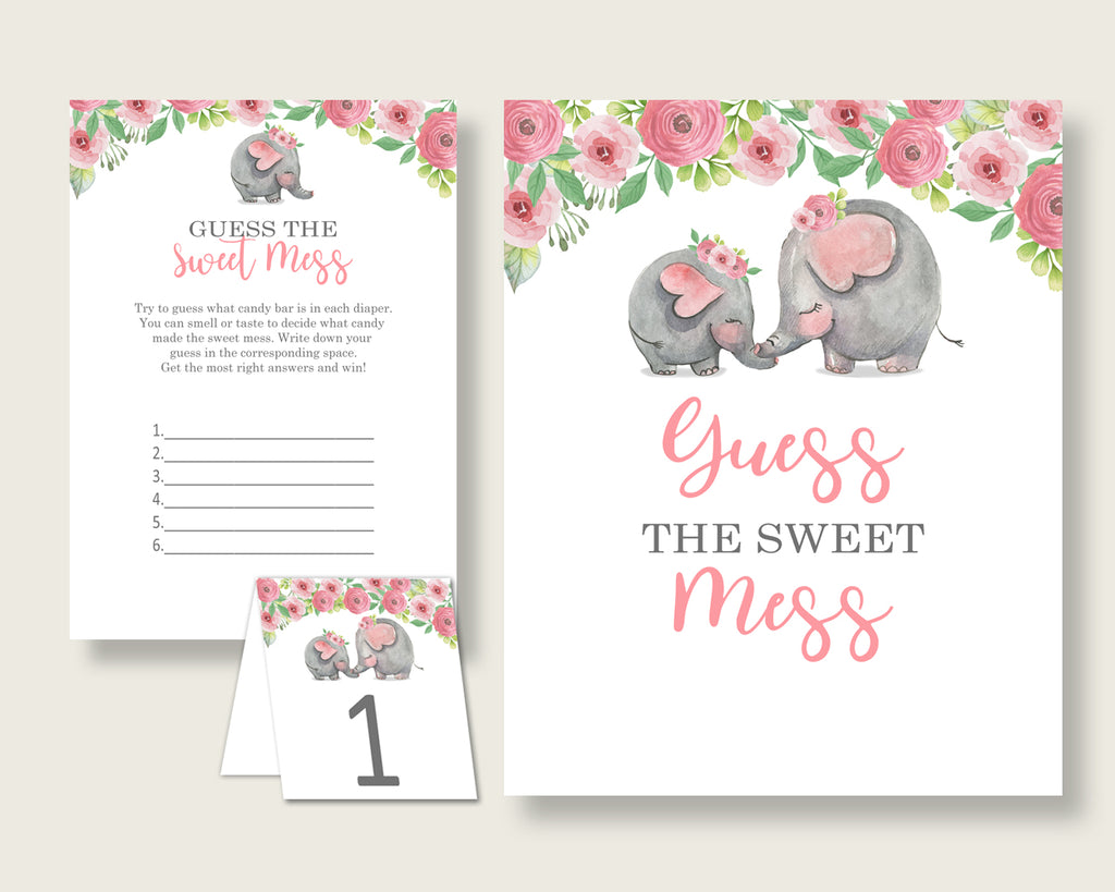 Pink Elephant Guessing Game Baby Shower Girl, Pink Grey Guess The Sweet Mess Game Printable, Dirty Diaper Game, Instant Download, ep001