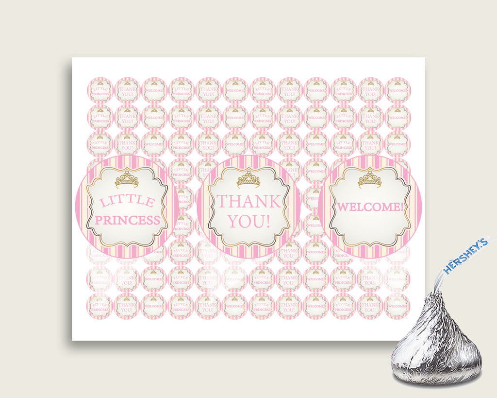Royal Princess Hershey Kisses Circle Printable, Pink Gold Hershey Kisses Labels Round Digital, Girl Baby Shower, Instant Download, rp002