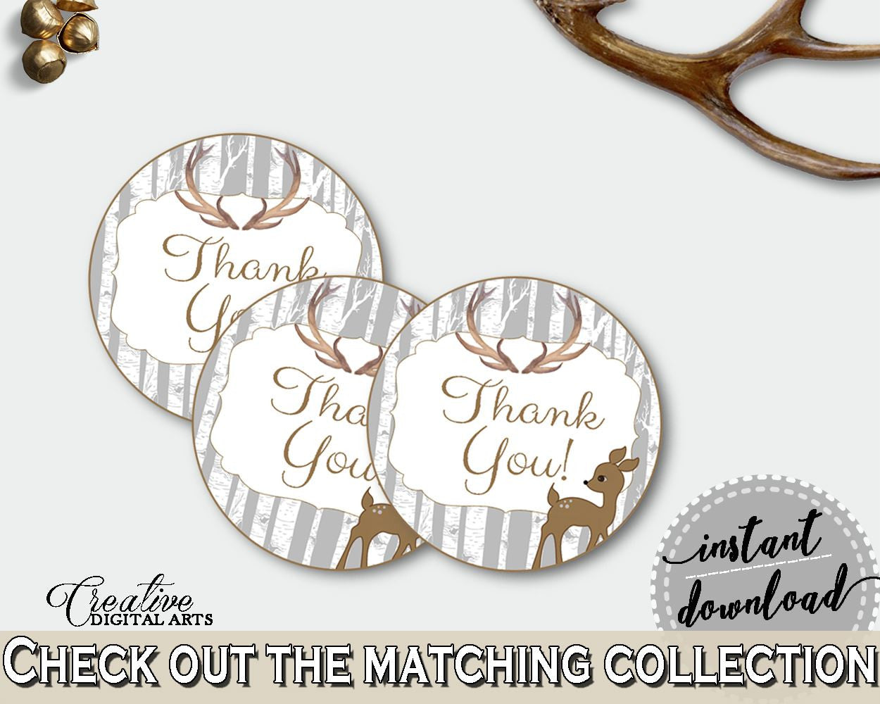 Round Tags Baby Shower Round Tags Deer Baby Shower Round Tags Baby Shower Deer Round Tags Gray Brown party supplies - Z20R3 - Digital Product