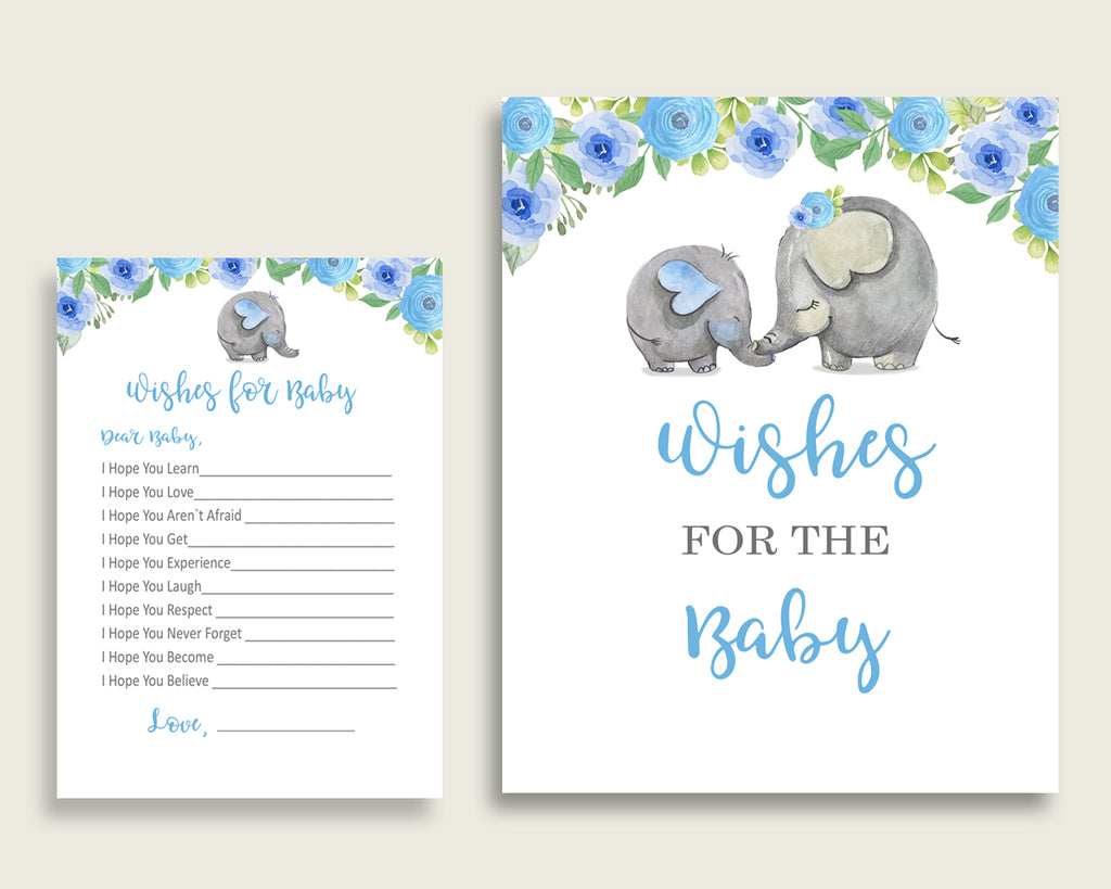 Blue Gray Wishes For Baby Cards & Sign, Elephant Blue Baby Shower Boy Well Wishes Game Printable, Instant Download, Dumbo Elephant ebl01