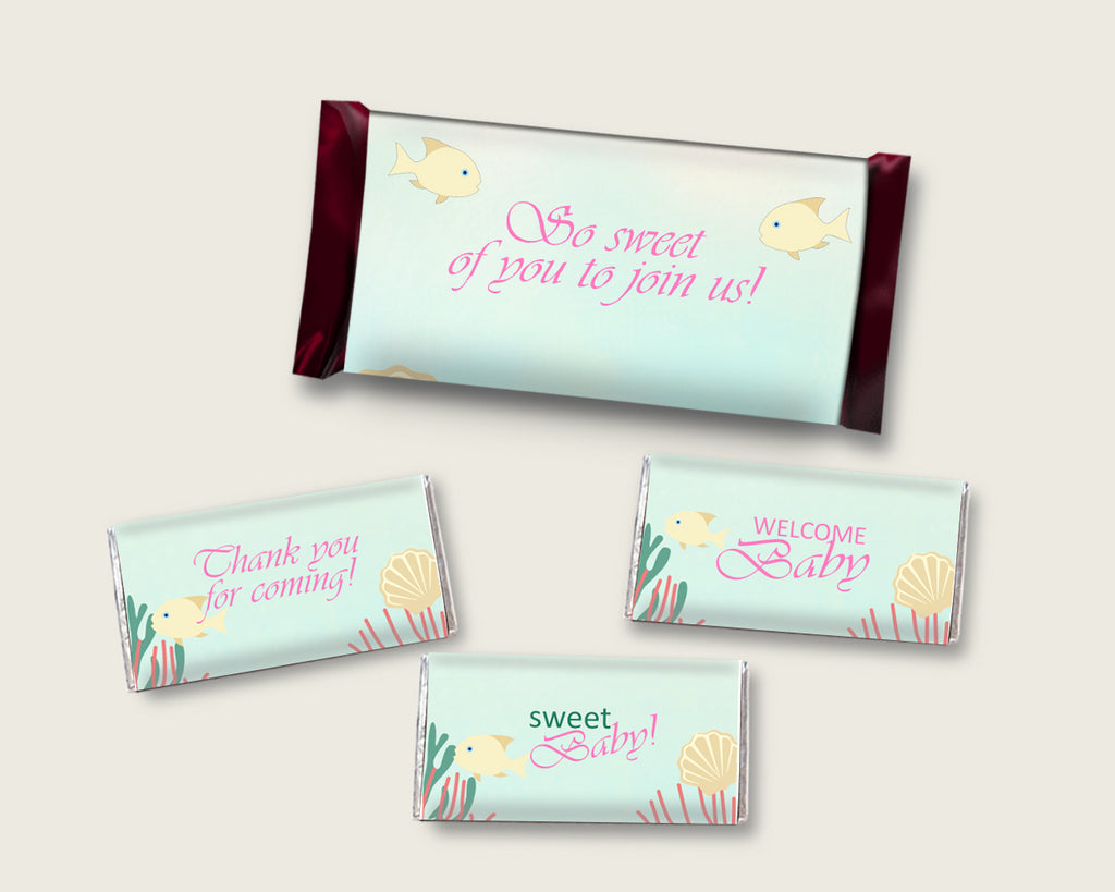 Under The Sea Hershey Candy Bar Wrapper Printable, Pink Green Chocolate Bar Wrappers, Girl Shower Candy Labels, Instant Download, uts01