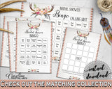 Bingo 60 Cards in Antlers Flowers Bohemian Bridal Shower Gray and Pink Theme, filled bingo, boho rustic shower, party plan, prints - MVR4R - Digital Product