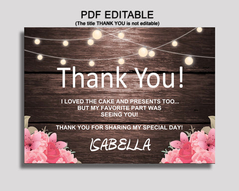 Birthday Rustic Thank You Rustic Self Editable Pink Brown Thank You Notes Rustic Party Thank You Girl OE0W8