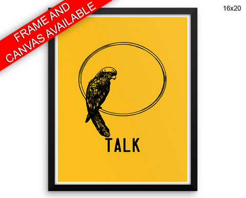Talk Parrot Print, Beautiful Wall Art with Frame and Canvas options available Bedroom Decor