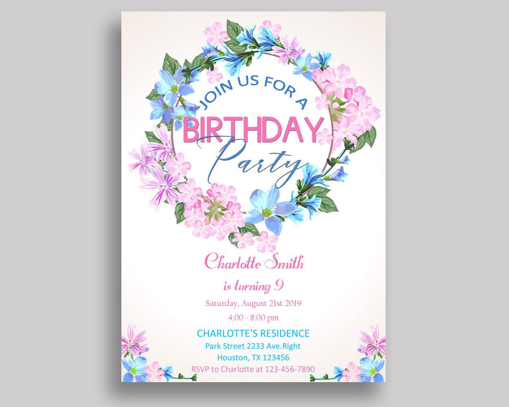 Floral Wreath Birthday Invitation Floral Wreath Birthday Party Invitation Floral Wreath Birthday Party Floral Wreath Invitation Girl 9MD18 - Digital Product