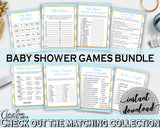 Baby Shower printable games package bundle, glitter gold title with blue and white stripes, 8 games pack pdf jpg - Instant Download - bs002