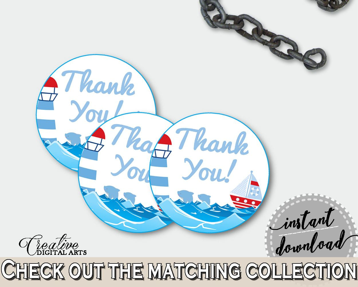 Round Tags Baby Shower Round Tags Nautical Baby Shower Round Tags Baby Shower Nautical Round Tags Blue Red prints, digital print - DHTQT - Digital Product