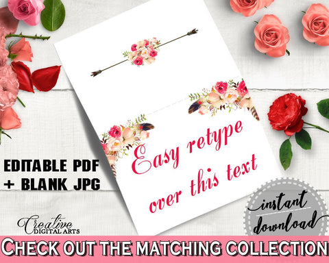 Bohemian Flowers Bridal Shower Food Tent in Pink And Red, buffet labels, bridal arrows, paper supplies, shower activity, party decor - 06D7T - Digital Product