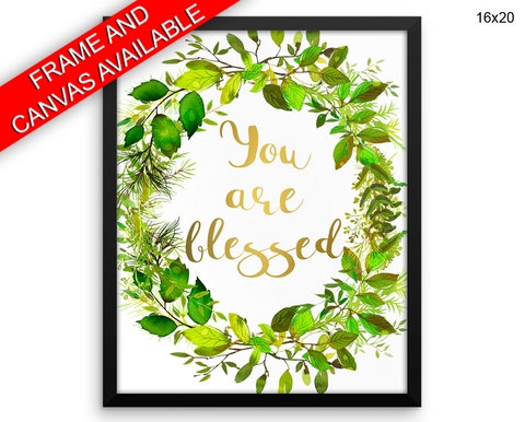 You Are Blessed Print, Beautiful Wall Art with Frame and Canvas options available Nursery Decor