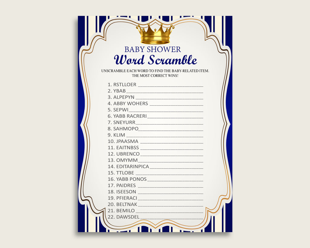 Boy Baby Shower Word Scramble Game Printable, Cute Royal Prince Blue Gold Word Scramble, Funny Activity, Instant Download, King Crown rp001