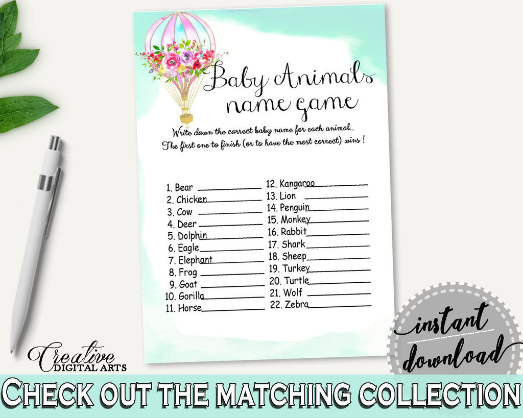 Baby Animal Names Baby Shower Baby Animal Names Hot Air Balloon Baby Shower Baby Animal Names Baby Shower Hot Air Balloon Baby Animal CSXIS - Digital Product