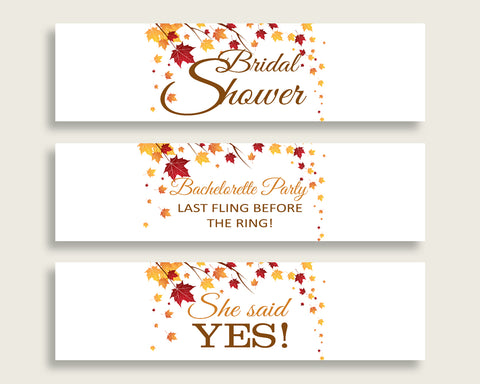 Bottle Labels Bridal Shower Bottle Labels Fall Bridal Shower Bottle Labels Bridal Shower Autumn Bottle Labels Brown Yellow prints YCZ2S