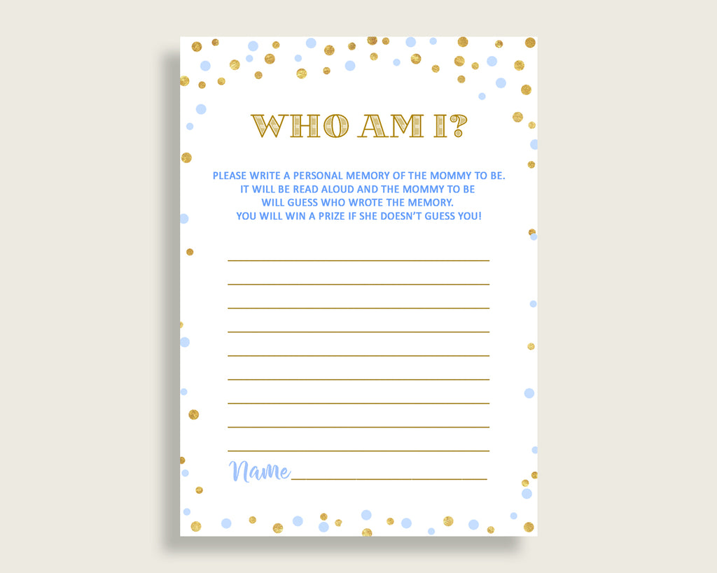 Who Am I Baby Shower Who Am I Confetti Baby Shower Who Am I Blue Gold Baby Shower Confetti Who Am I printable prints party décor cb001