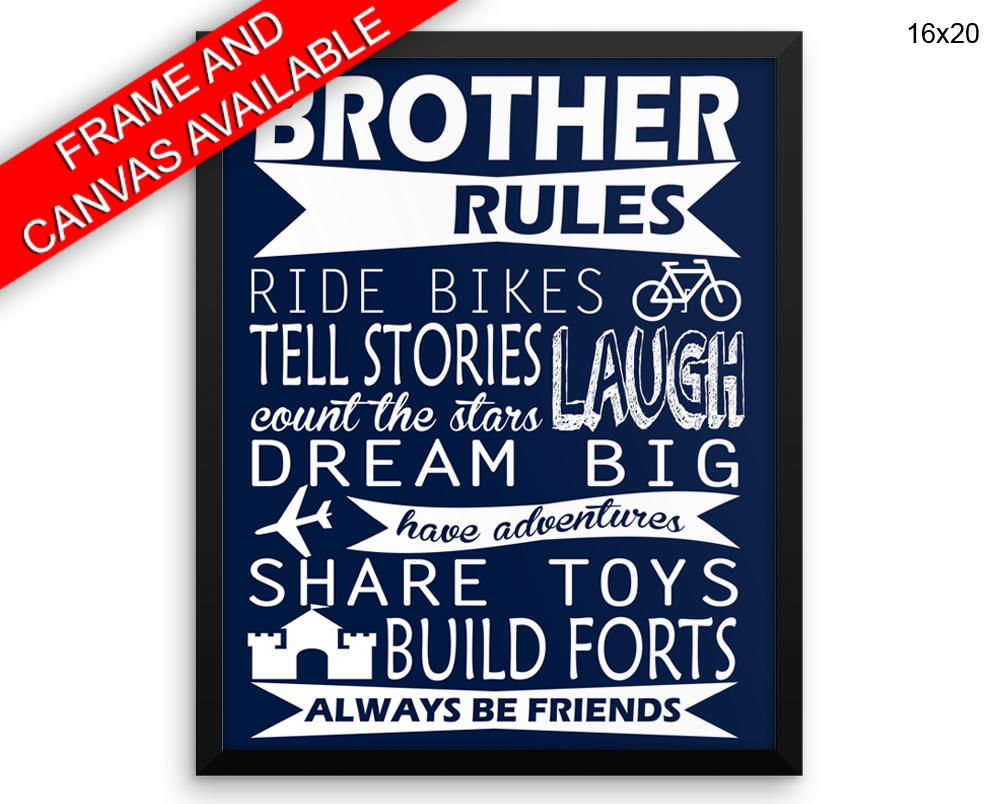 Brother Rules Print, Beautiful Wall Art with Frame and Canvas options available Kids Decor