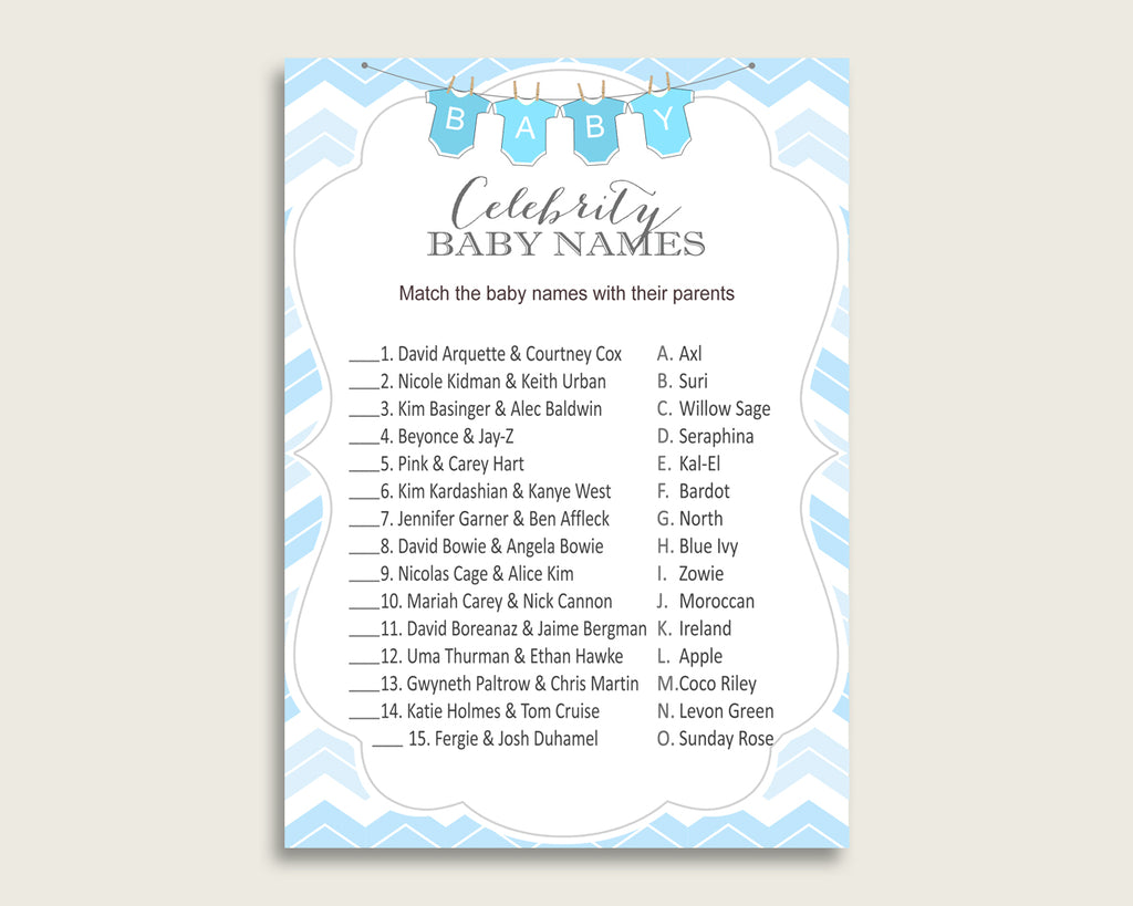 Blue White Celebrity Baby Names, Chevron Baby Shower Boy Name Game Printable, Celebrity Match Game, Famous Babies Game, Celebrity cbl01