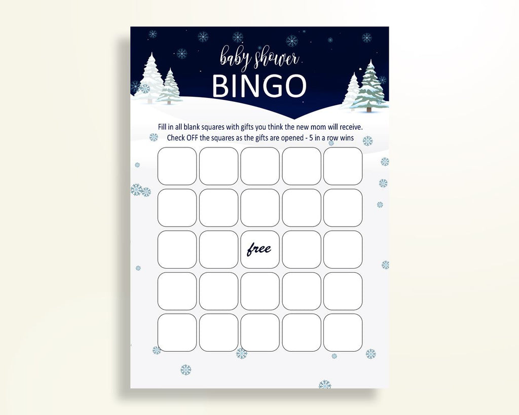 Empty Bingo Baby Shower Empty Bingo Winter Baby Shower Empty Bingo Baby Shower Winter Empty Bingo Blue White prints printable files 3E6QO - Digital Product