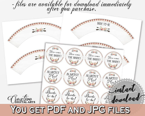 Cupcake Toppers And Wrappers in Antlers Flowers Bohemian Bridal Shower Gray and Pink Theme, almost mrs, party plan, party planning - MVR4R - Digital Product