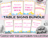 Table Signs Baby Shower Table Signs Rubber Duck Baby Shower Table Signs Baby Shower Rubber Duck Table Signs Purple Pink party plan rd001