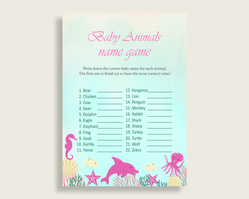 Under The Sea Name The Baby Animals Game Printable, Pink Green Baby Shower Animal Game, Girl Baby Shower, Instant Download, Popular, uts01