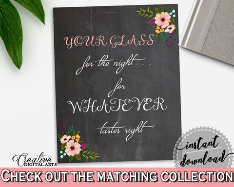 Your Glass For The Night Sign in Chalkboard Flowers Bridal Shower Black And Pink Theme, wedding sign, digital download, pdf jpg - RBZRX - Digital Product