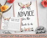 Advice For The Bride To Be in Antlers Flowers Bohemian Bridal Shower Gray and Pink Theme, instructions for bride, party ideas - MVR4R - Digital Product