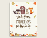 Woodland Baby Shower Prediction Cards & Sign Printable, Brown Beige Baby Prediction Game Gender Neutral, Instant Download, Bear Forest w0001