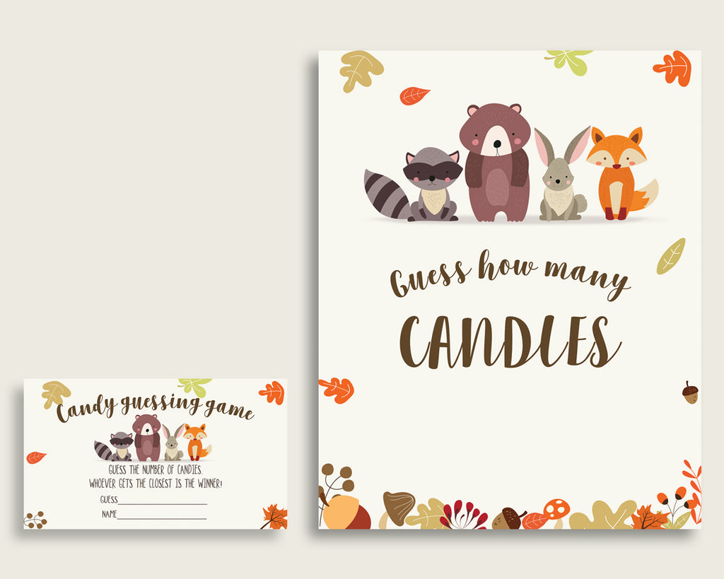 Brown Beige Candy Guessing Game, Woodland Baby Shower Gender Neutral Sign And Cards, Guess How Many Candies, Candy Jar Game, Jelly w0001