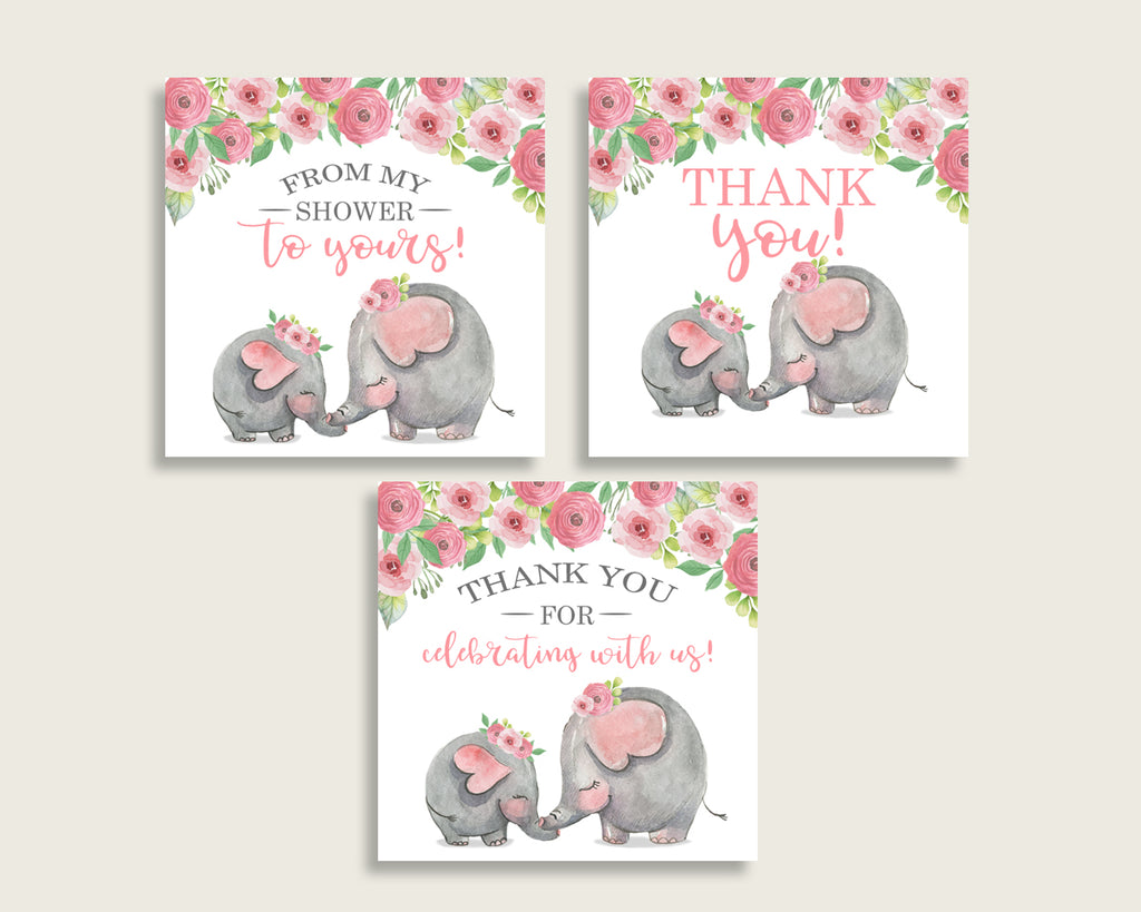 Pink Elephant Baby Shower Square Thank You Tags 2 inch Printable, Pink Grey Girl Shower Gift Tags, Hang Tags Labels, Instant Download ep001