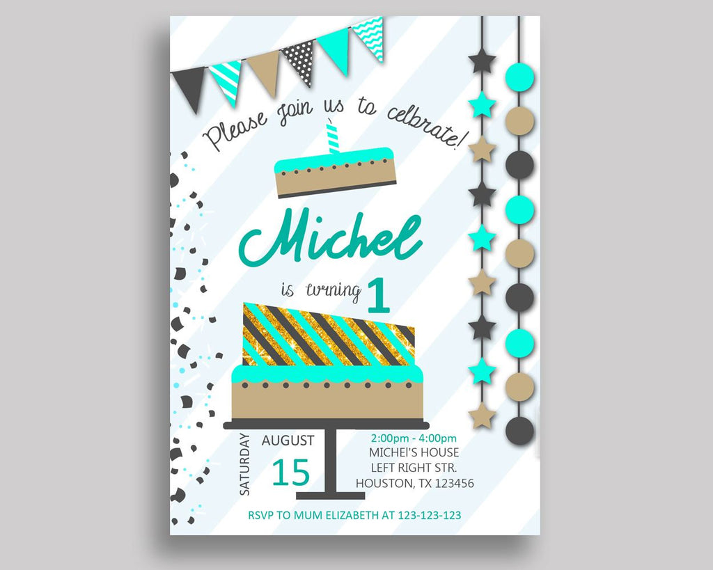 Cake Birthday Invitation Cake Birthday Party Invitation Cake Birthday Party Cake Invitation Boy boy birthday any age invitation M3NIS - Digital Product