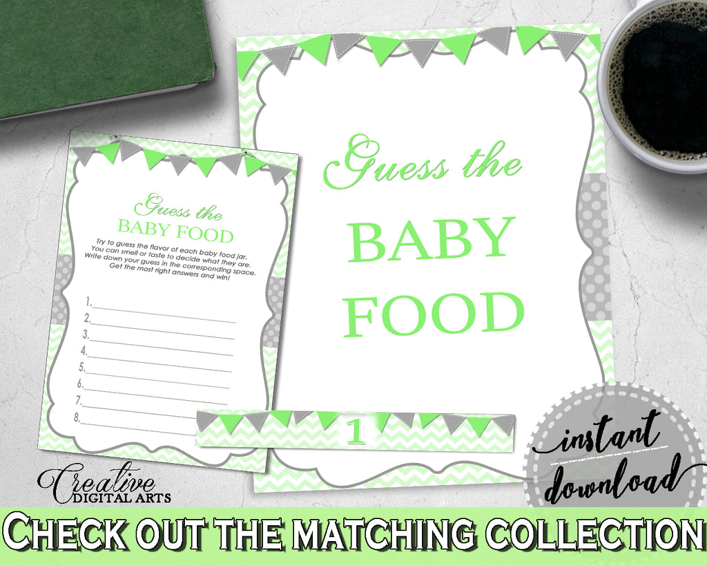 GUESS The BABY FOOD game for baby shower with chevron green color theme printable, digital, Jpg Pdf, instant download - cgr01