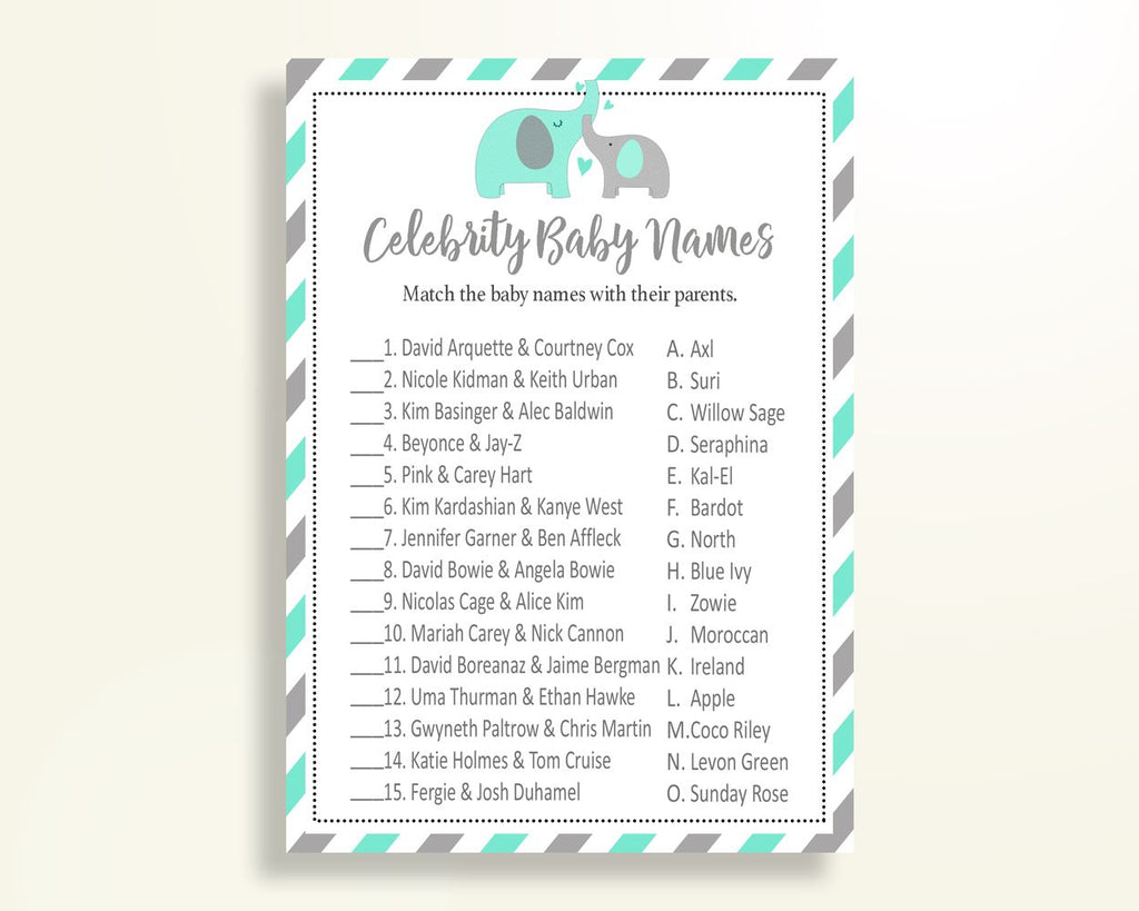 Celebrity Baby Names Baby Shower Celebrity Baby Names Turquoise Baby Shower Celebrity Baby Names Baby Shower Elephant Celebrity Baby 5DMNH - Digital Product