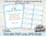 Little Lamb Baby Shower Boy DIAPER RAFFLE insert ticket printable, sheep shower theme blue, Digital File Jpg Pdf, instant download - fa001