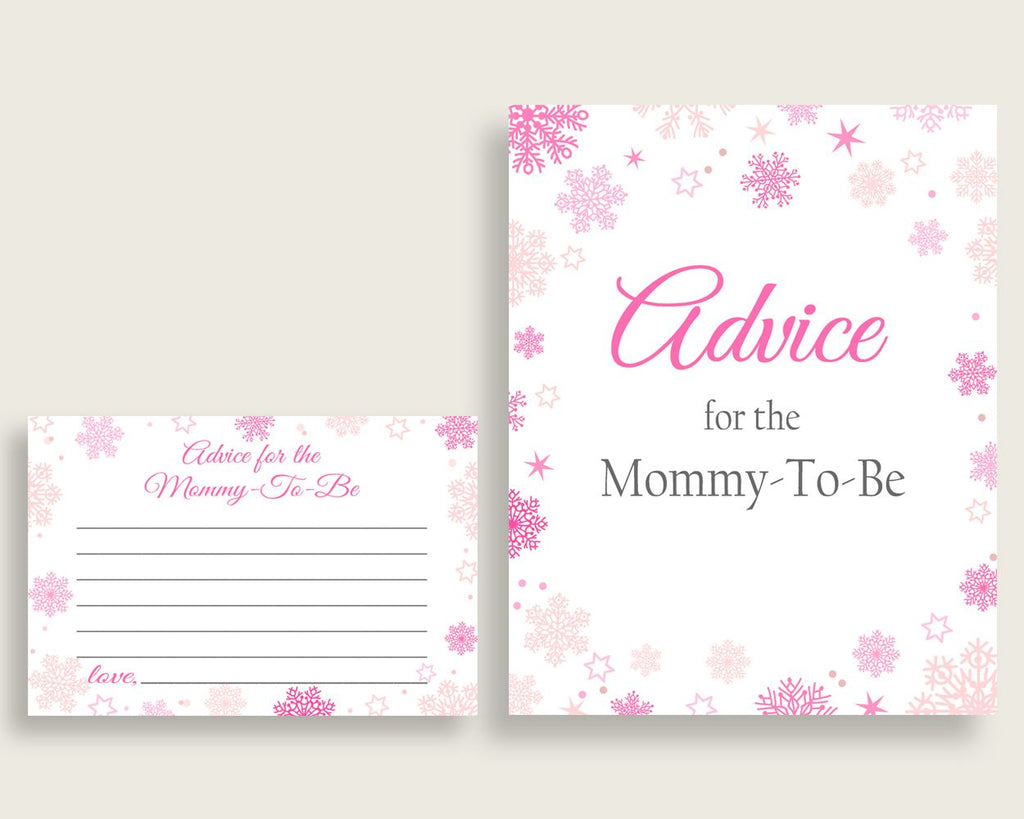 Advice Cards Baby Shower Advice Cards Winter Baby Shower Advice Cards Baby Shower Girl Advice Cards Pink White printable files 74RVX - Digital Product